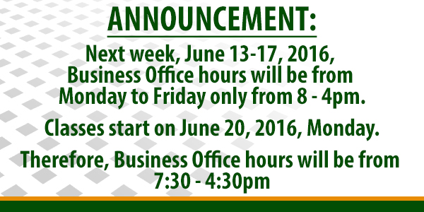 Business Office schedule