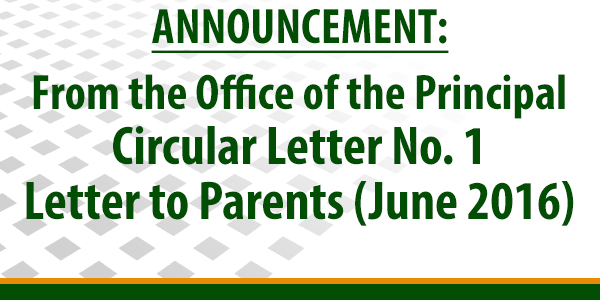 Circular Letter No. 1: Letter to Parents (June 2016)