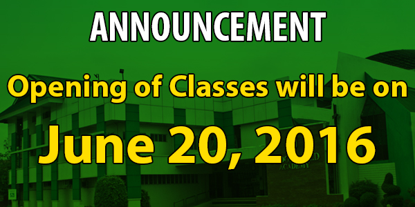 Opening of Classes SY 2016-2017