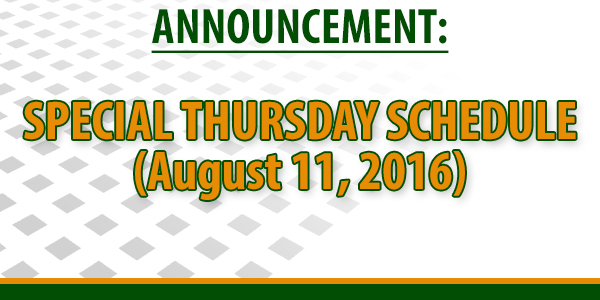 Announcement (August 10, 2016)