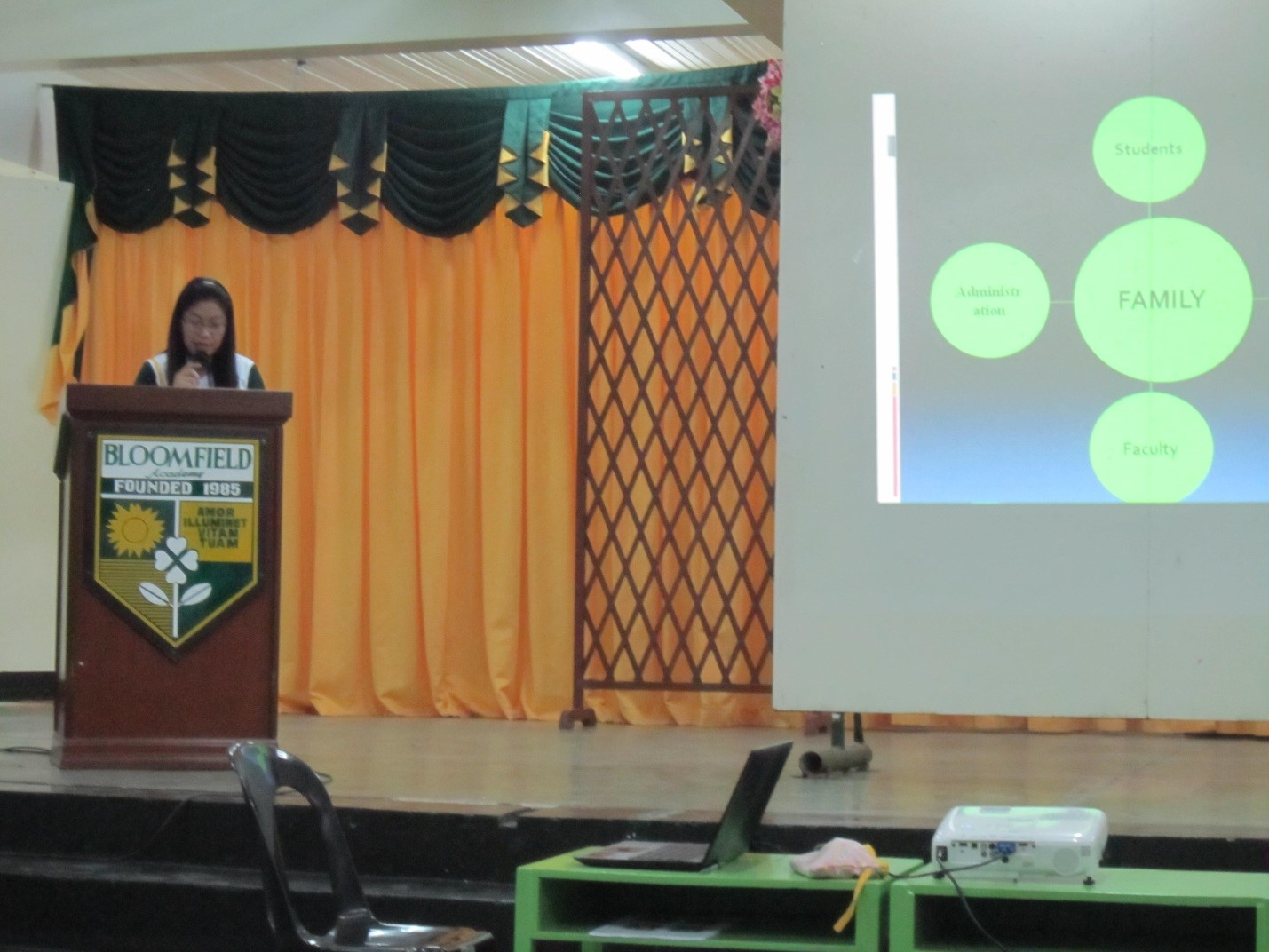 Ms. Thelma Marquez, the Student Affairs Coordinator, briefly discussed the PVM of the school.