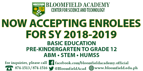 Now Accepting Enrolees for SY 2018-2019