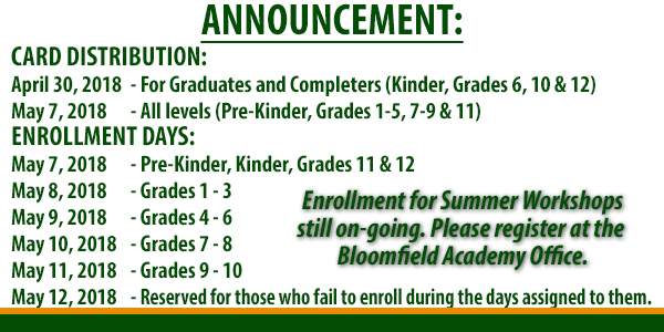 ANNOUNCEMENT: Card Distribution and Enrollment Schedule