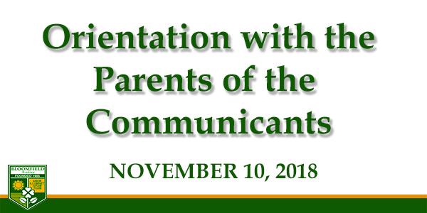 Orientation with the Parents of the Communicants