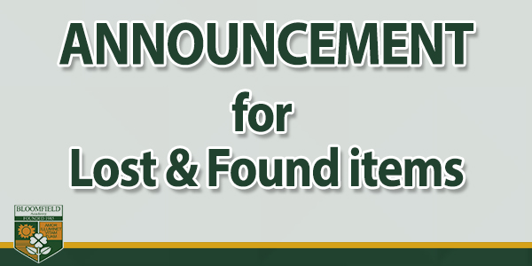 ANNOUNCEMENT: Lost & Found items