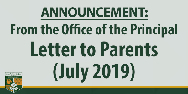 Letter to Parents (July 2019)