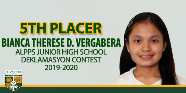BIANCA THERESE D. VERGABERA – 5TH PLACER – ALPPS 2019-2020